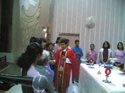 Father wishing us after mass