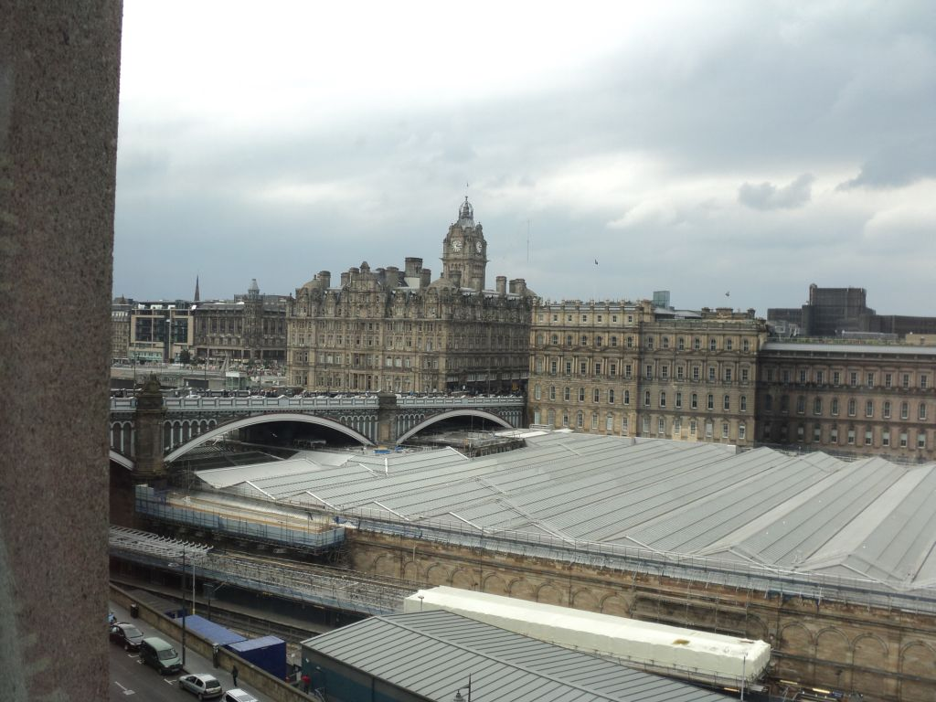 View of Edinburgh Waverly station from our hotel room