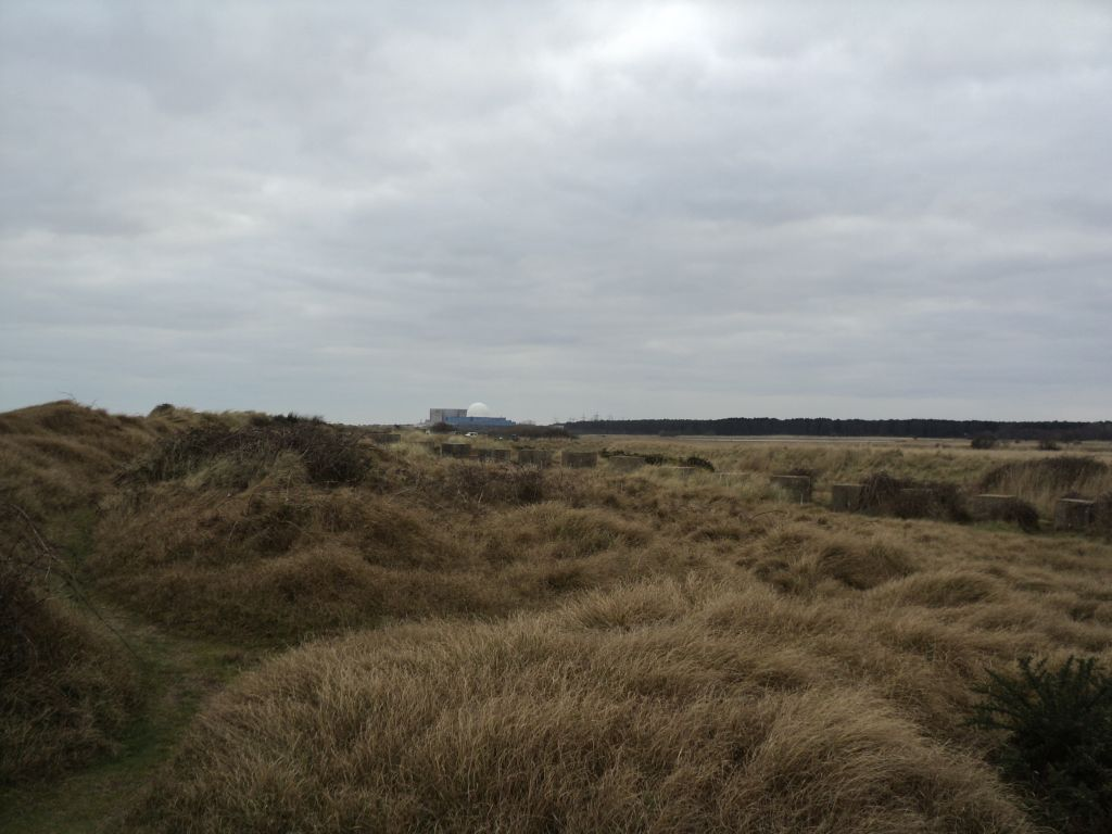 Sizewell nuclear power stations in the distance