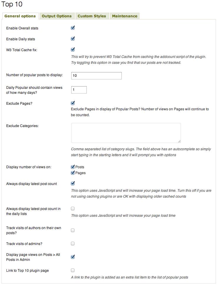 Top 10 v1.9.7 - General options
