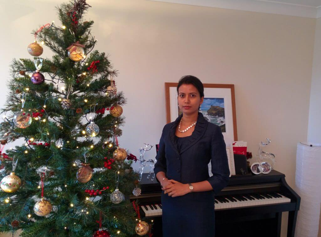Ashwina and the Christmas tree