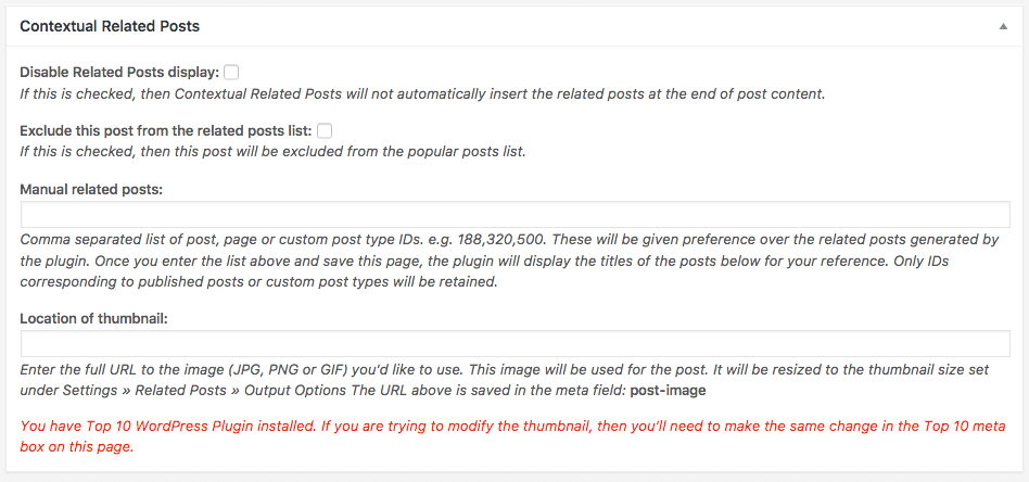 Contextual Related Posts v2.3.0 Metabox