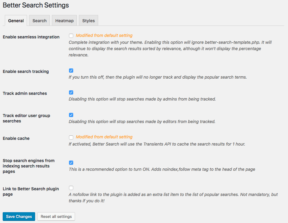 Better Search v2.2 Settings API