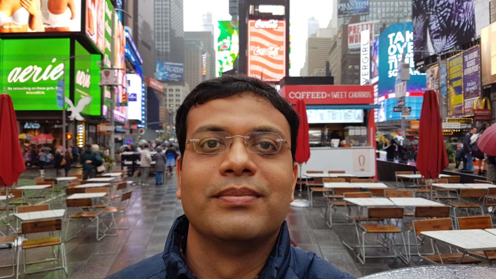 With Times Square behind me