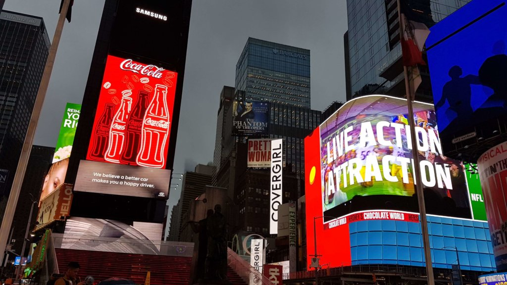 Large screens light up Times Square