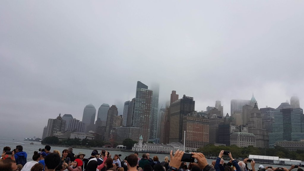 The Manhattan skyline covered in fog
