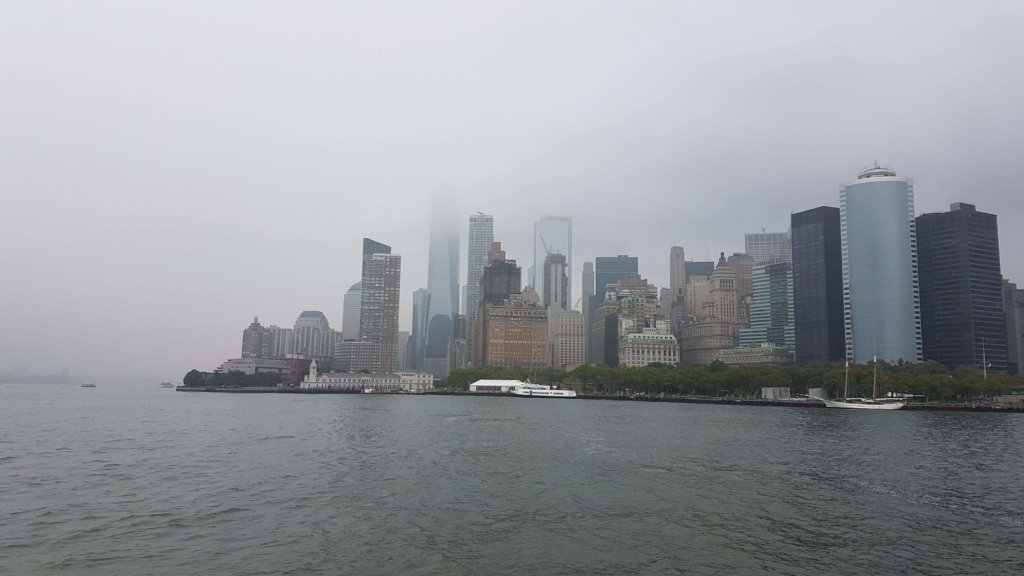 The fog starting to lift to reveal the Manhattan skyline