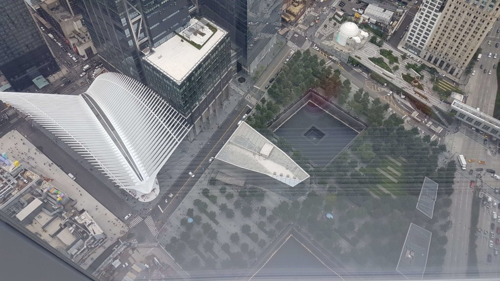 View of the Oculus and a Reflecting Pool of the Memorial from One WTC