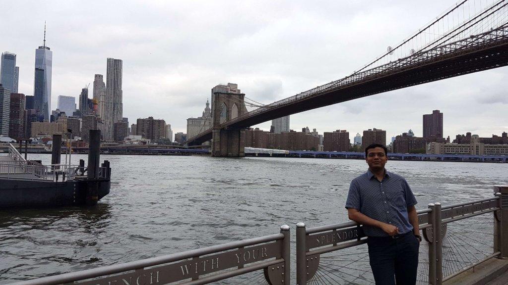 The Brooklyn Bridge in the background