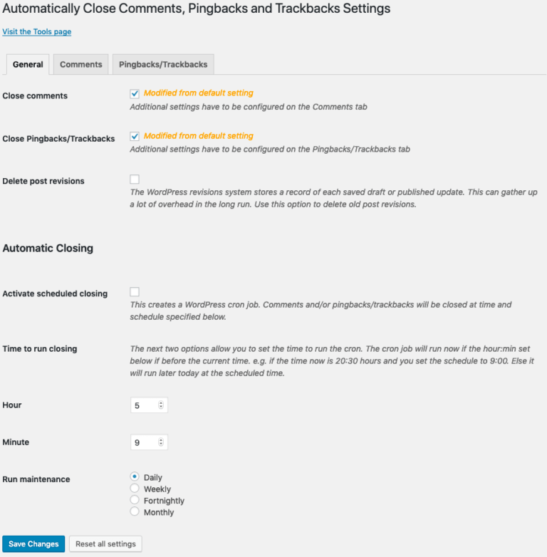 AutoClose v2.0.0 settings