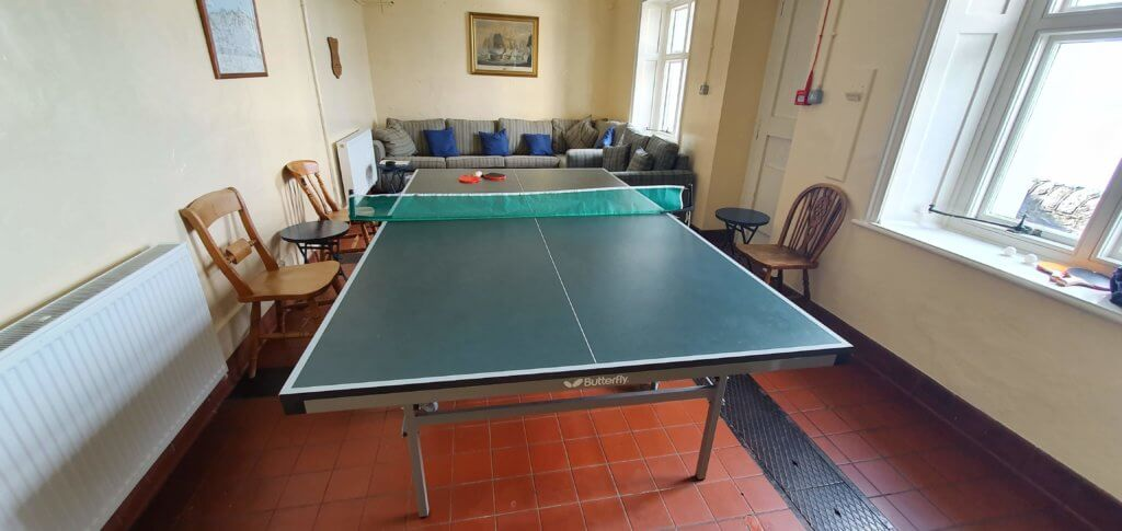 Ping pong table in The Lighthouse Keepers' Cottage