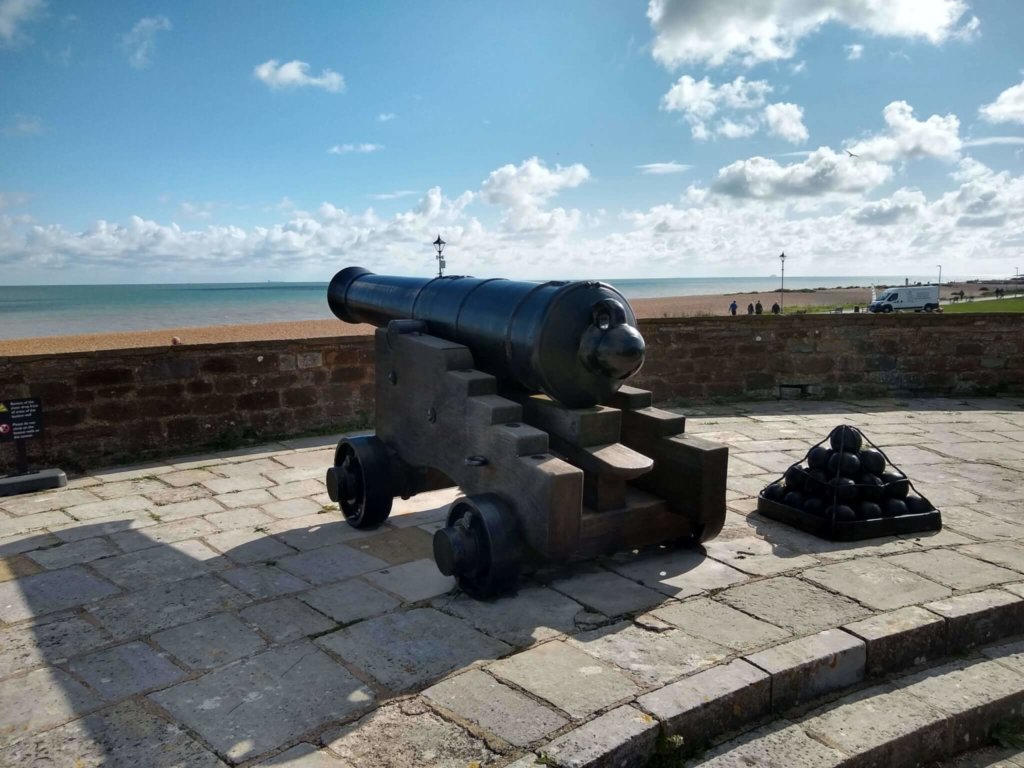 A cannon looking over the coast at Deal Castle