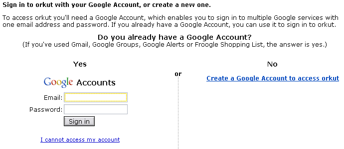Sign into Orkut with your Google Account